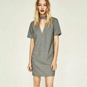 Zara choker houndstooth dress